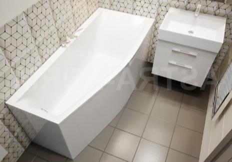 Мраморная ванна Астра-Форм Скат 170х75 правая