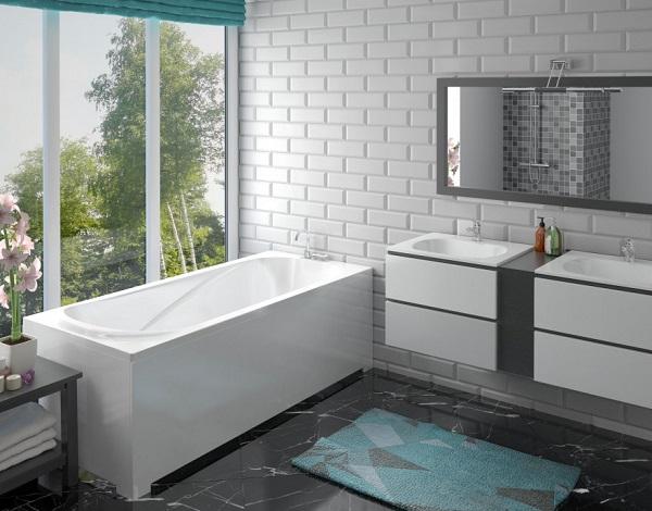 Мраморная ванна Эстет Альфа 180х80